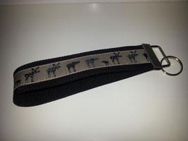 Schlüsselband - schwarz mit Elch (s)