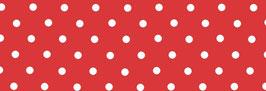 Schrägband rot mit weißen Punkten