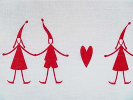 Leinenband gebleicht - Wichtel mit Herz rot (16cm)
