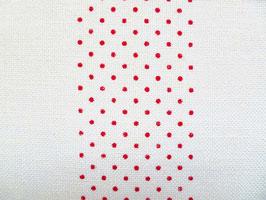 Leinenband gebleicht mit roten Punkten (20cm)
