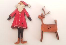 Holzknöpfe - Weihnachtsmann und Rentier