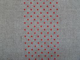 Leinenband ungebleicht mit roten Punkten (20cm)