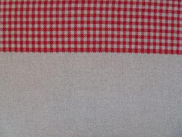 Leinenband natur mit rot karierten Rand (17cm)