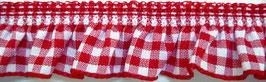 Rüschenband rot-weiß kariert, elastisch