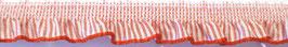 Rüschenband rot-weiß gestreift, elastisch