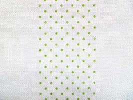 Leinenband gebleicht mit grünen Punkten (10cm)