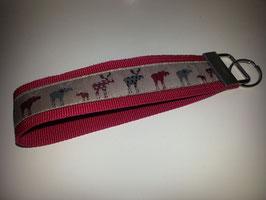 Schlüsselband - rot mit Elch (r)