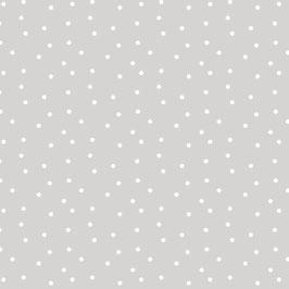Baumwollstoff Tupfen hellgrau-weiß