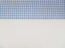 Leinenband gebleicht mit blau kariertem Rand (17cm)