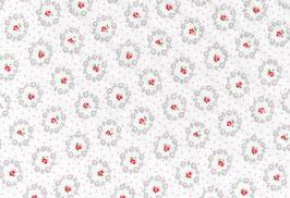 Prinzessin, weiß mit rot-rosa Blumen und Punkten