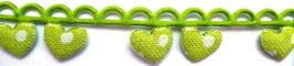Grüne Herzen mit weißen Punkten