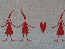 Leinenband natur - Wichtel mit Herz rot (16cm)