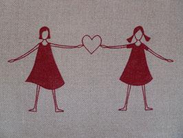 Leinenband natur - Mädchen mit Herz rot (16cm)