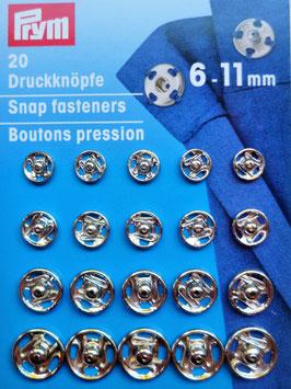 20 Druckknöpfe 6-11mm