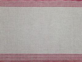 Leinenband rot-natur mit Randstreifen (34cm)