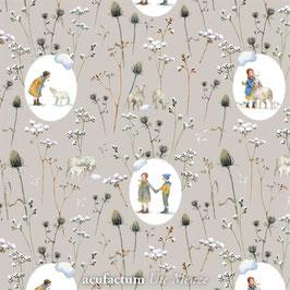 Baumwollstoff Ovale Winterkinder + Schafe
