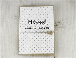 Menükarte zur Hochzeit mit eingedrucktem Menü No 5