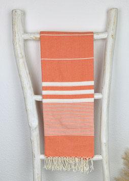 Hamamtuch Apollonia orange/weiß