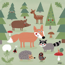 Mein buntes Kinderzimmerbild – Trubel im Wald