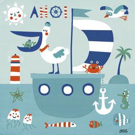 Mein buntes Kinderzimmerbild – Freunde im Meer
