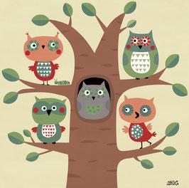 Mein buntes Kinderzimmerbild – Fünf Eulen im Baum