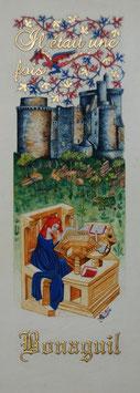 """""""Il était une fois Bonaguil et Christine de Pizan"""" Enluminure encadrée. Création Sandra Clerbois."""