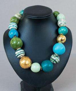 Kette mit hohlen Perlen blau/grün