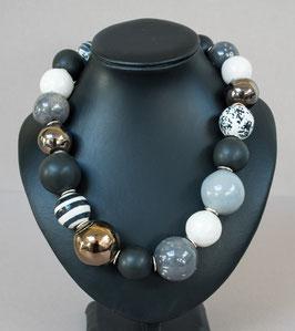 Kette mit hohlen Perlen grau/schwarz