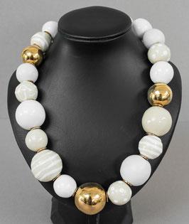 Kette mit hohlen Perlen weiß/gold