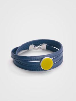 Lederarmband Blau & Gelb