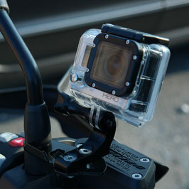 Action cam bracket on mirror mount