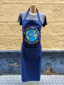"""Delantal """"No es quer mundo sea shico... es que Cadi es mu grande"""" color Azul marino"""