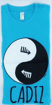 "Camiseta ""Ying-Yang gaditano"" Hombre color celeste"