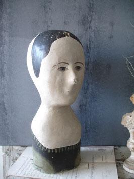 RAR: Antike Marotte / Pappmascheekopf aus Frankreich