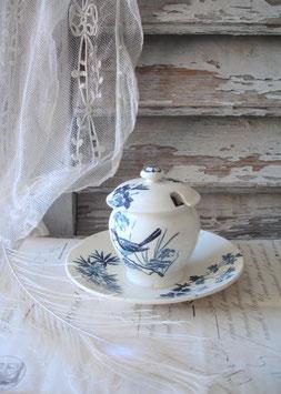 Antiker Keramik Moutardier aus Frankreich um 1885