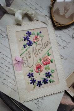 """Antike bestickte Postkarte """"Saint Nicolas"""" Frankreich"""