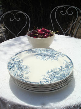Shabby: Set Dessert Teller Keramik Frankreich um 1890