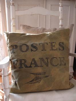 """Schönes Leinenkissen """"Postes France"""""""