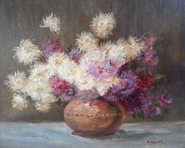 Zauberhaftes altes Blumen Ölbild Blumenbouquet