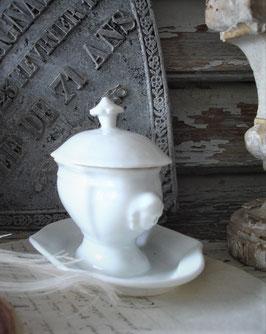 Seltener antiker Porzellan Moutardier aus Frankreich 1900