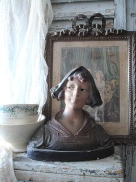 Zauberhafte große Mädchen Gips Büste aus Frankreich 1900