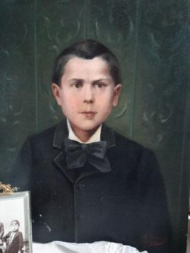 Antikes großes Jungen Porträt Öl auf Leinen 1890