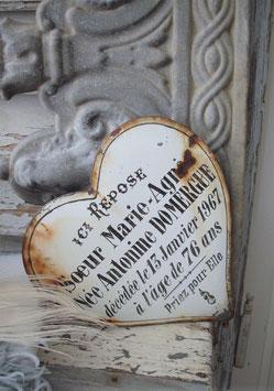 Altes Emaille Herz aus Frankreich