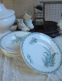 Shabby: Set tiefe Teller Keramik Frankreich um 1890