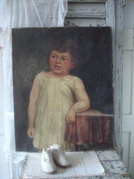Antikes Ölgemälde eines Kindes, Frankreich 19. Jahrhundert