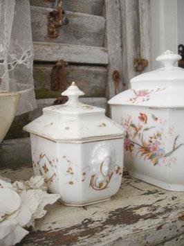 Shabby: Antiker kleiner Porzellan Sucrier Frankreich