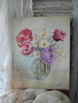 Shabby: Zauberhaftes altes Blumenbild Ölbild