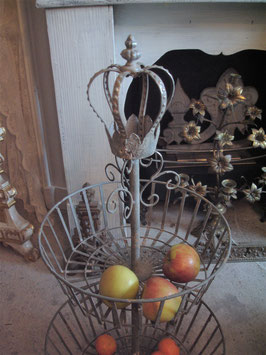 Shabby: Dekorative Metall Etagere mit Krone