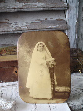 Antikes Metall Sepia Kommunionsfoto Frankreich 1900
