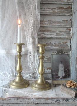 Shabby: Alter Messing Kerzenleuchter aus Frankreich